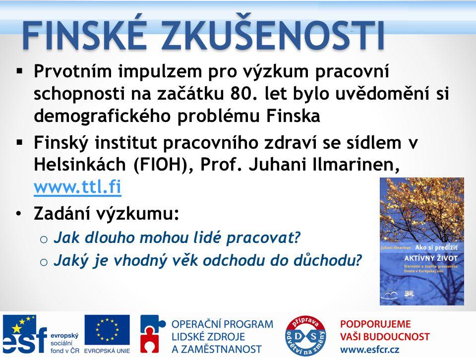 Finské zkušenosti Prvotním impulzem pro výzkum pracovní schopnosti na začátku 80. let bylo uvědomění si demografického problému Finska.