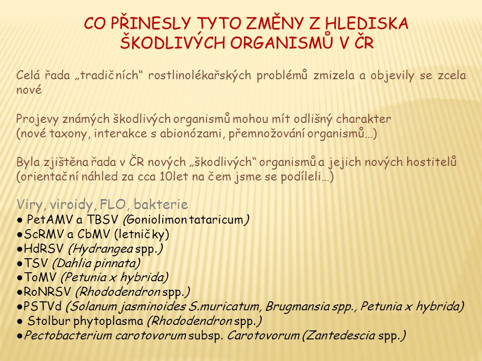 CO PŘINESLY TYTO ZMĚNY Z HLEDISKA ŠKODLIVÝCH ORGANISMŮ V ČR