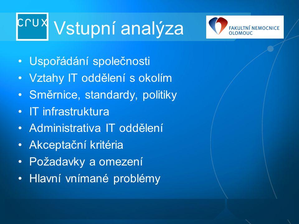 Vstupní analýza Uspořádání společnosti Vztahy IT oddělení s okolím