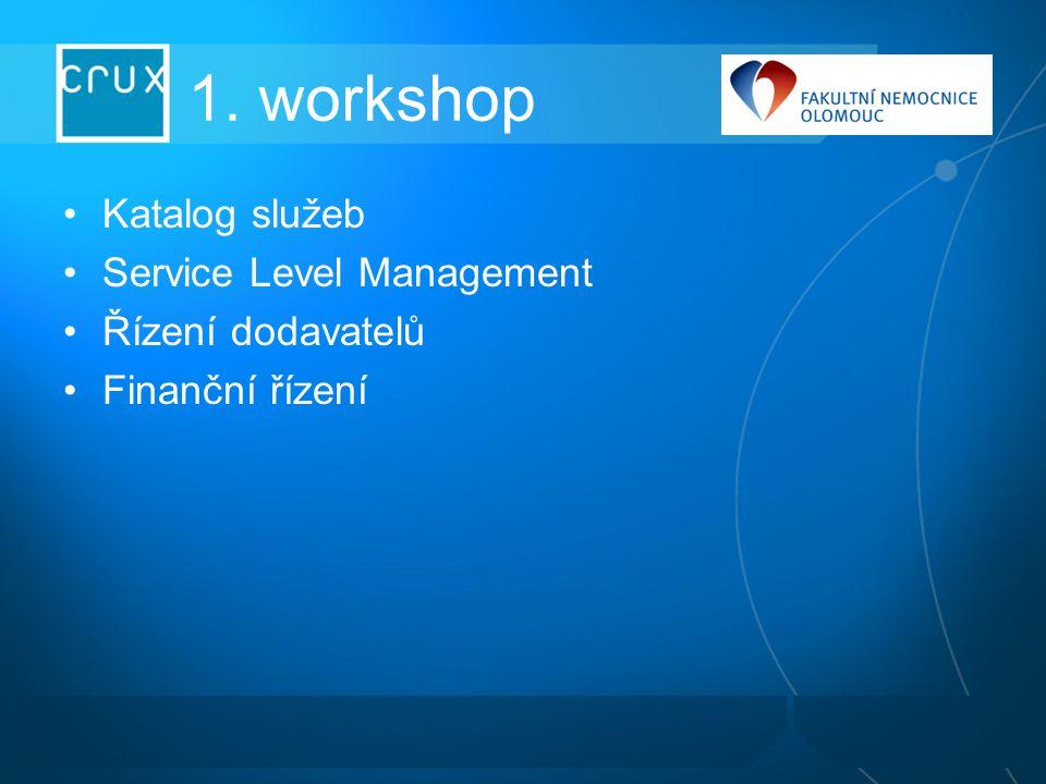1. workshop Katalog služeb Service Level Management Řízení dodavatelů