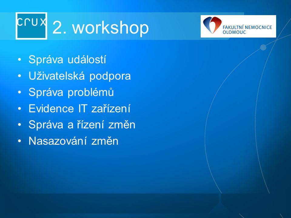 2. workshop Správa událostí Uživatelská podpora Správa problémů