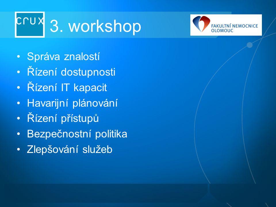 3. workshop Správa znalostí Řízení dostupnosti Řízení IT kapacit