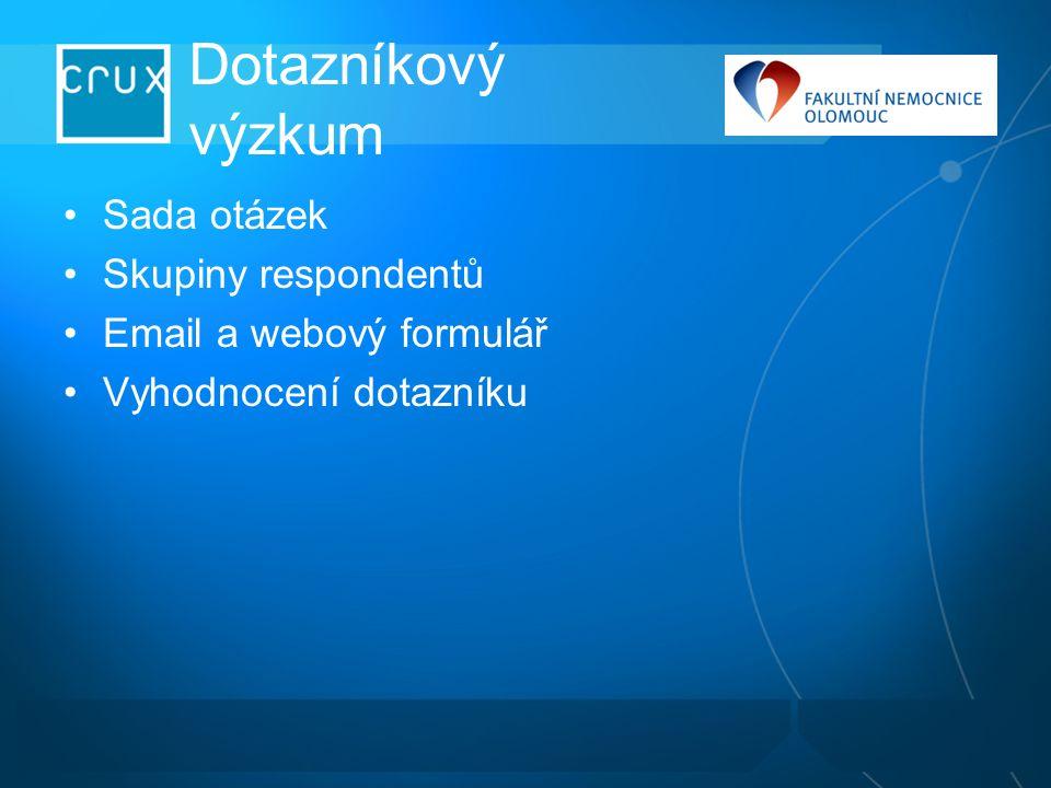 Dotazníkový výzkum Sada otázek Skupiny respondentů