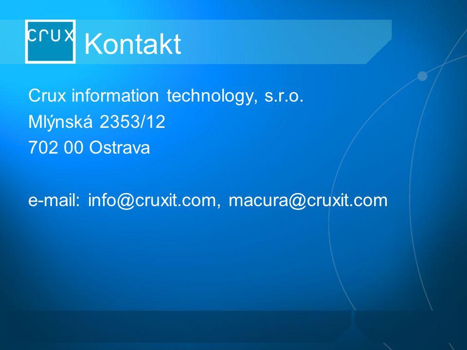 Kontakt Crux information technology, s.r.o. Mlýnská 2353/12