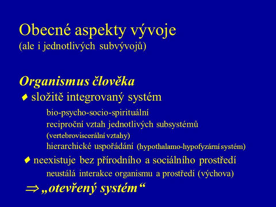 """Obecné aspekty vývoje (ale i jednotlivých subvývojů) Organismus člověka  složitě integrovaný systém bio-psycho-socio-spirituální reciproční vztah jednotlivých subsystémů (vertebroviscerální vztahy) hierarchické uspořádání (hypothalamo-hypofyzární systém)  neexistuje bez přírodního a sociálního prostředí neustálá interakce organismu a prostředí (výchova)  """"otevřený systém"""