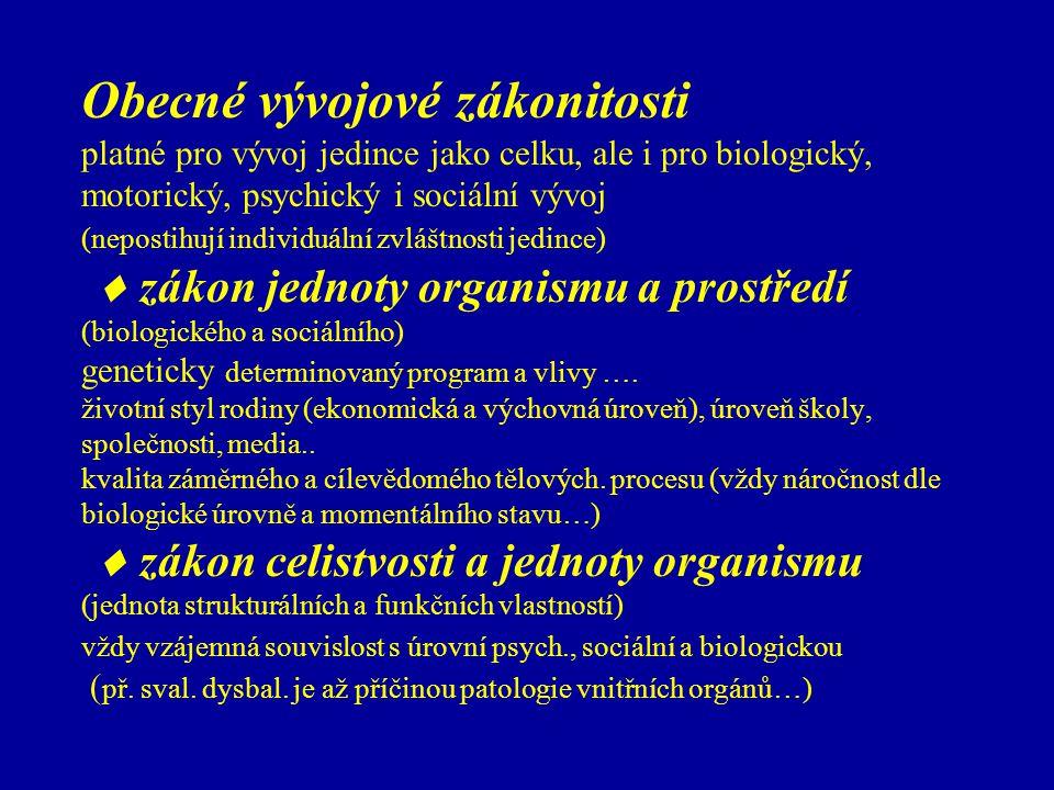 Obecné vývojové zákonitosti platné pro vývoj jedince jako celku, ale i pro biologický, motorický, psychický i sociální vývoj (nepostihují individuální zvláštnosti jedince)  zákon jednoty organismu a prostředí (biologického a sociálního) geneticky determinovaný program a vlivy ….