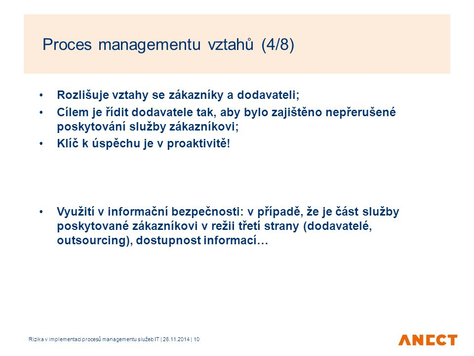 Proces managementu vztahů (4/8)