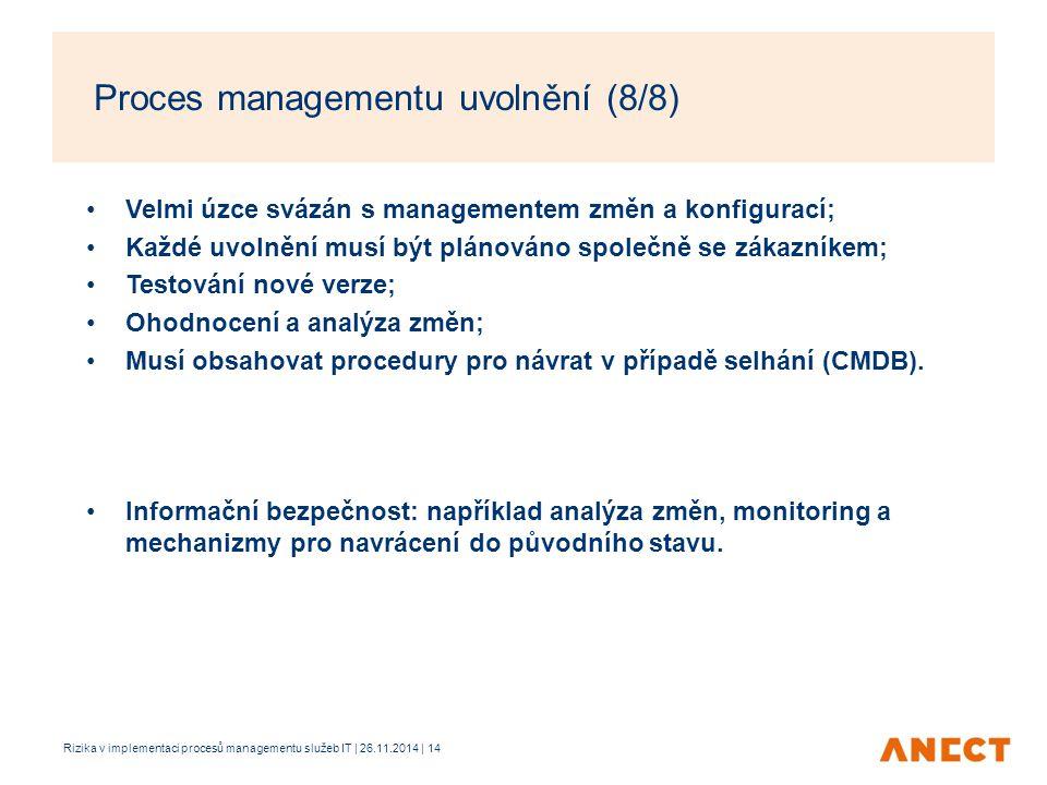 Proces managementu uvolnění (8/8)