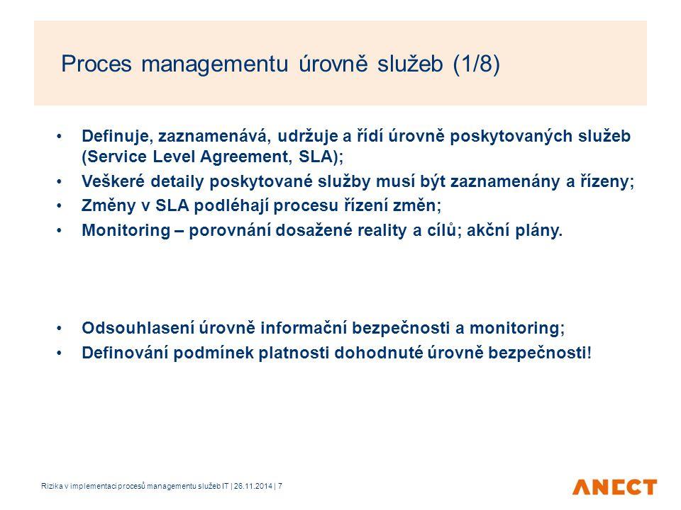 Proces managementu úrovně služeb (1/8)