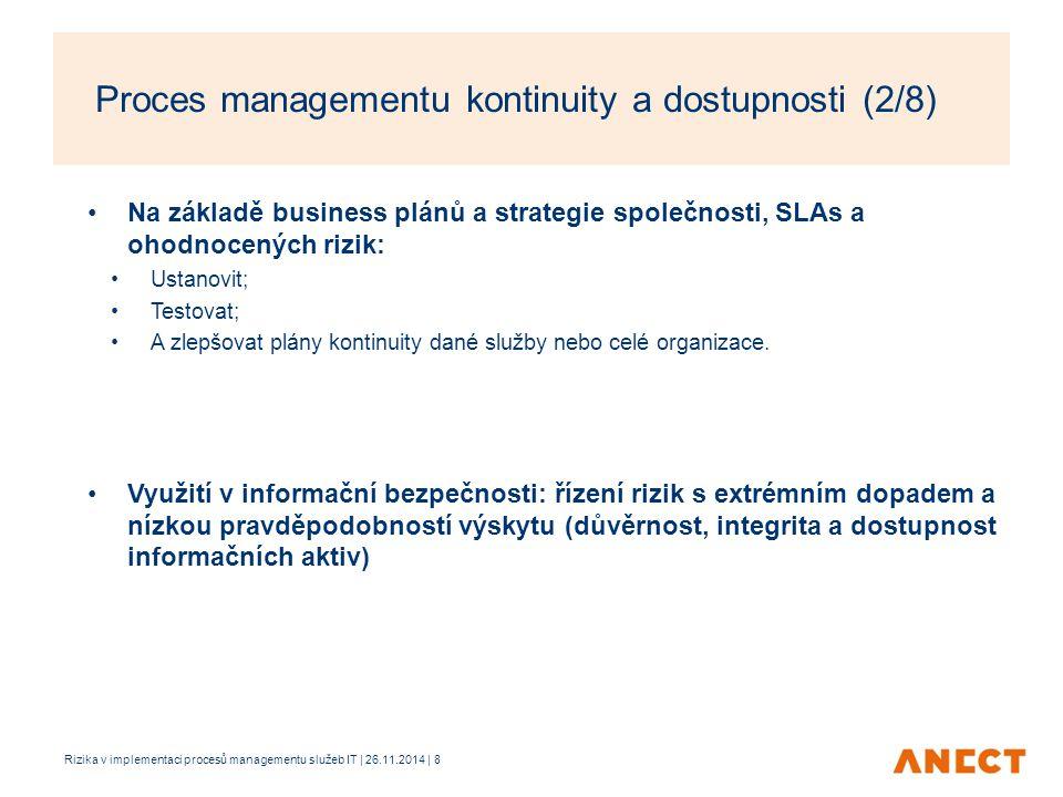 Proces managementu kontinuity a dostupnosti (2/8)