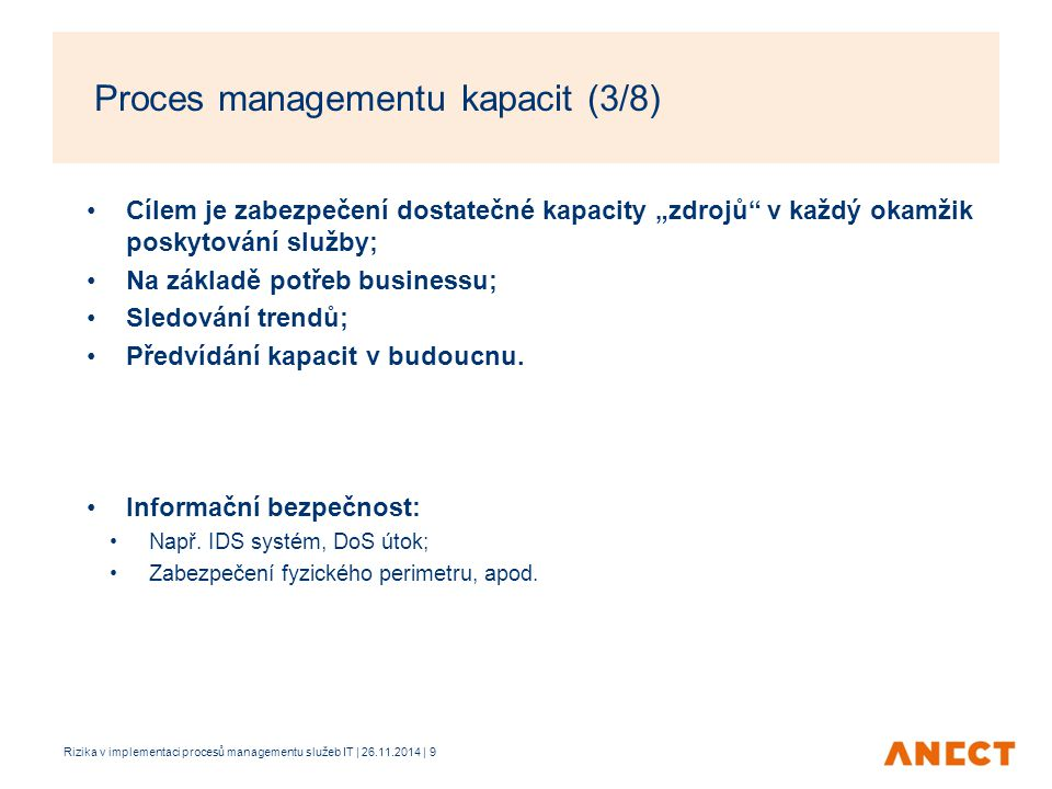 Proces managementu kapacit (3/8)