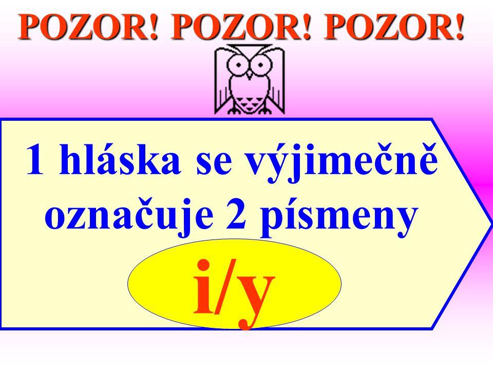 POZOR! POZOR! POZOR! 1 hláska se výjimečně označuje 2 písmeny i/y i/y