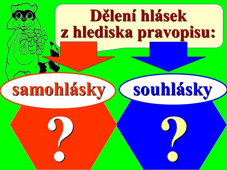 Dělení hlásek z hlediska pravopisu: samohlásky souhlásky