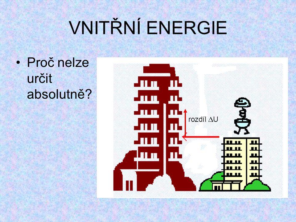 VNITŘNÍ ENERGIE Proč nelze určit absolutně rozdíl U