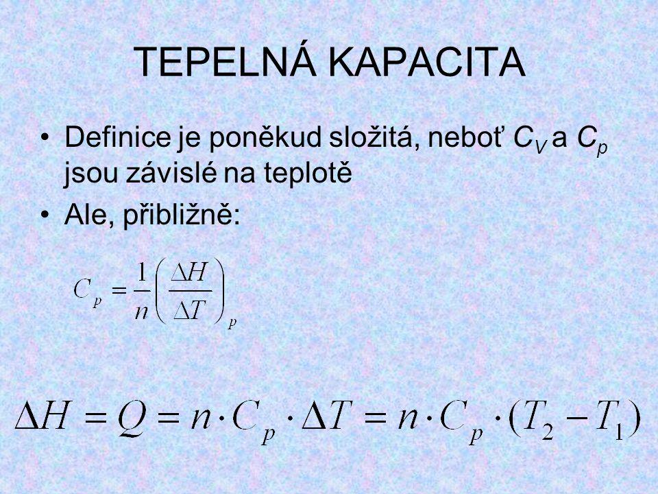 TEPELNÁ KAPACITA Definice je poněkud složitá, neboť CV a Cp jsou závislé na teplotě Ale, přibližně: