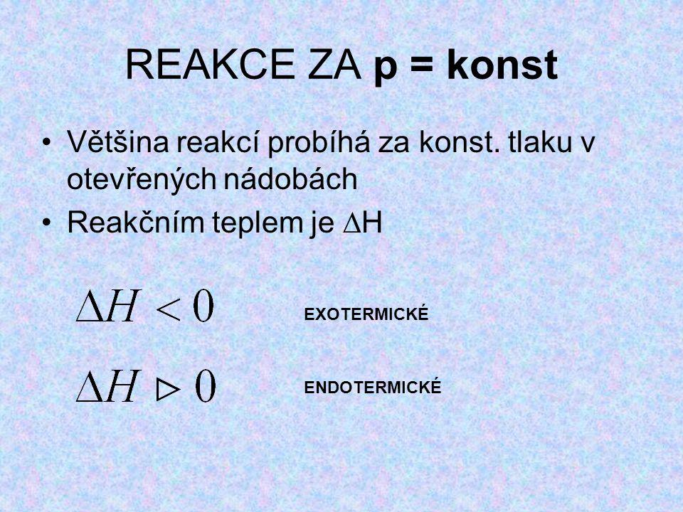 REAKCE ZA p = konst Většina reakcí probíhá za konst. tlaku v otevřených nádobách. Reakčním teplem je H.