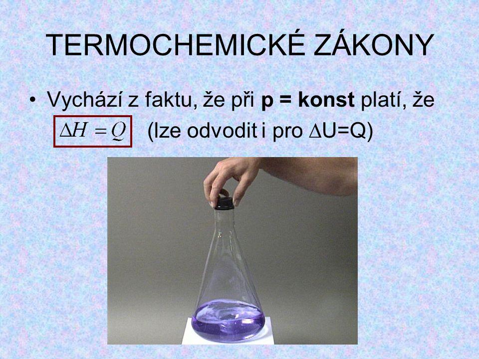 TERMOCHEMICKÉ ZÁKONY Vychází z faktu, že při p = konst platí, že