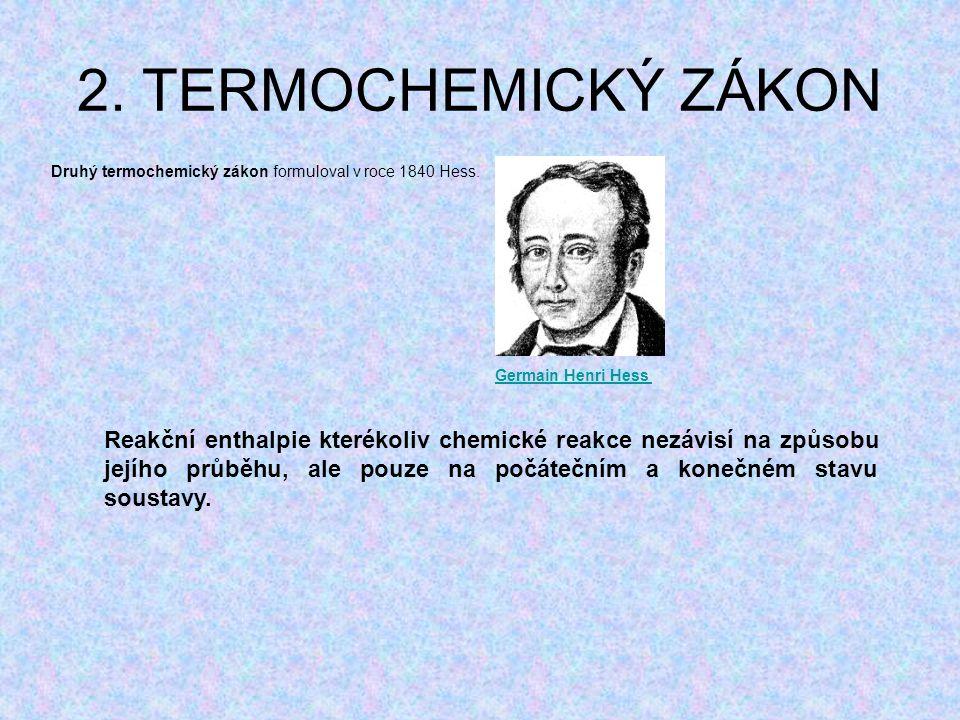 2. TERMOCHEMICKÝ ZÁKON Druhý termochemický zákon formuloval v roce 1840 Hess. Germain Henri Hess.