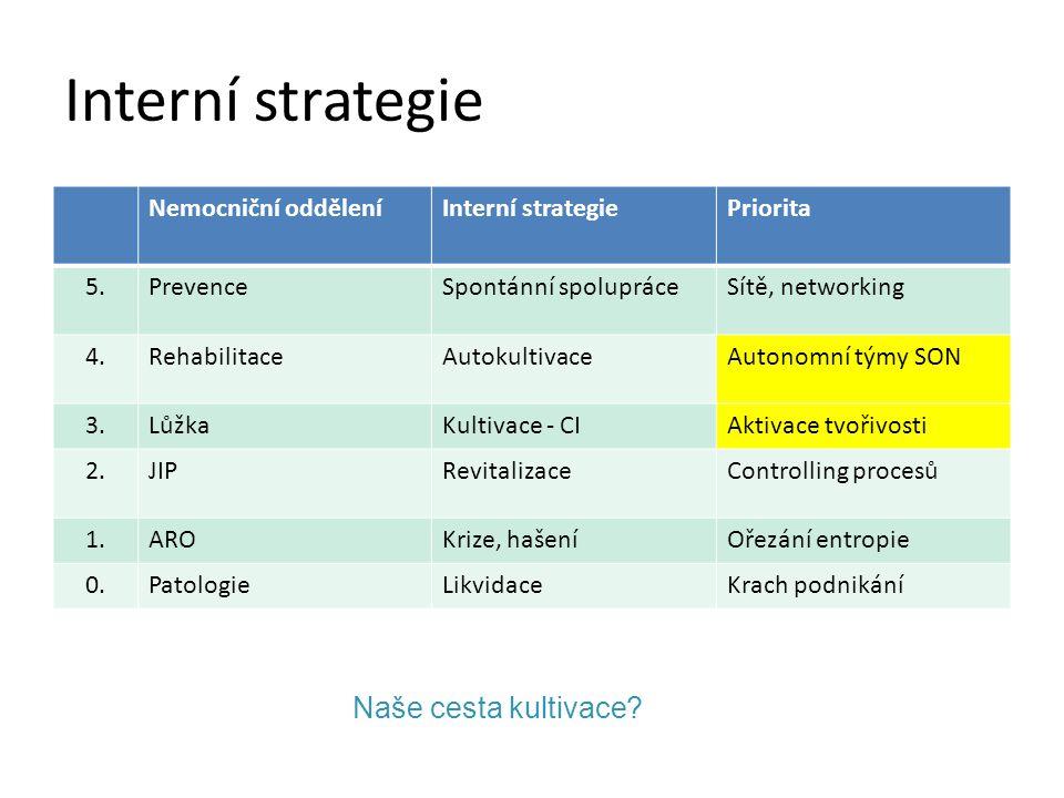 Interní strategie Naše cesta kultivace Nemocniční oddělení