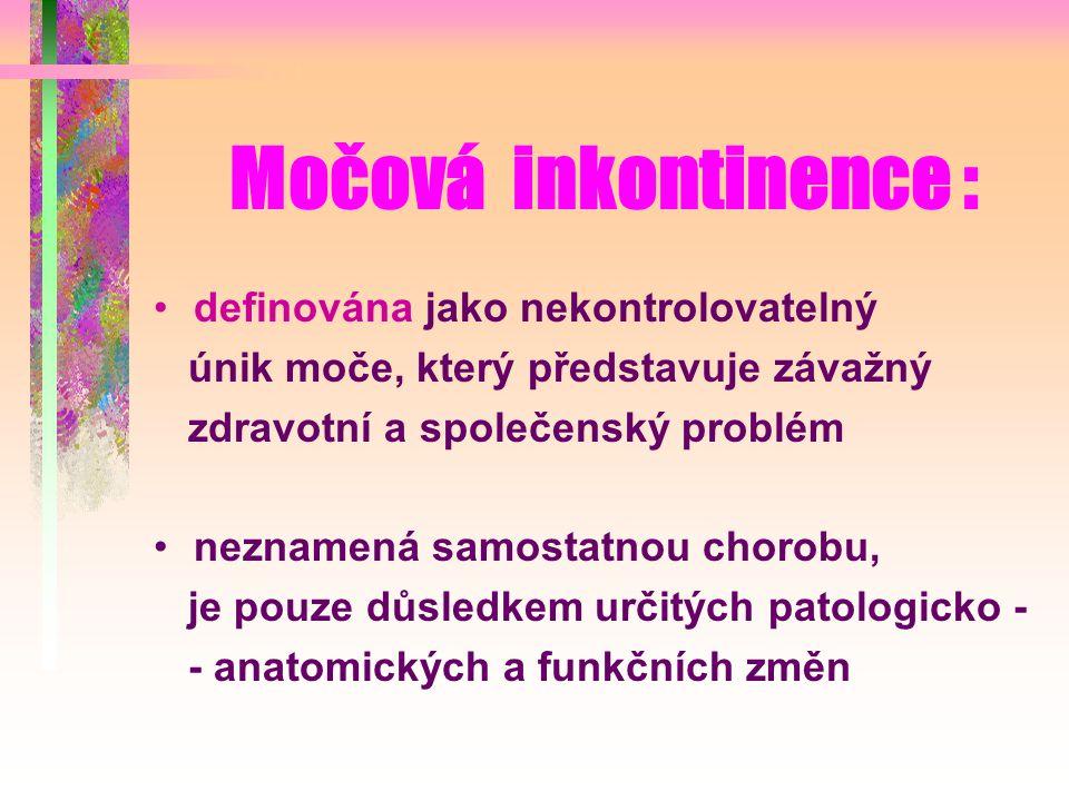 Močová inkontinence : definována jako nekontrolovatelný