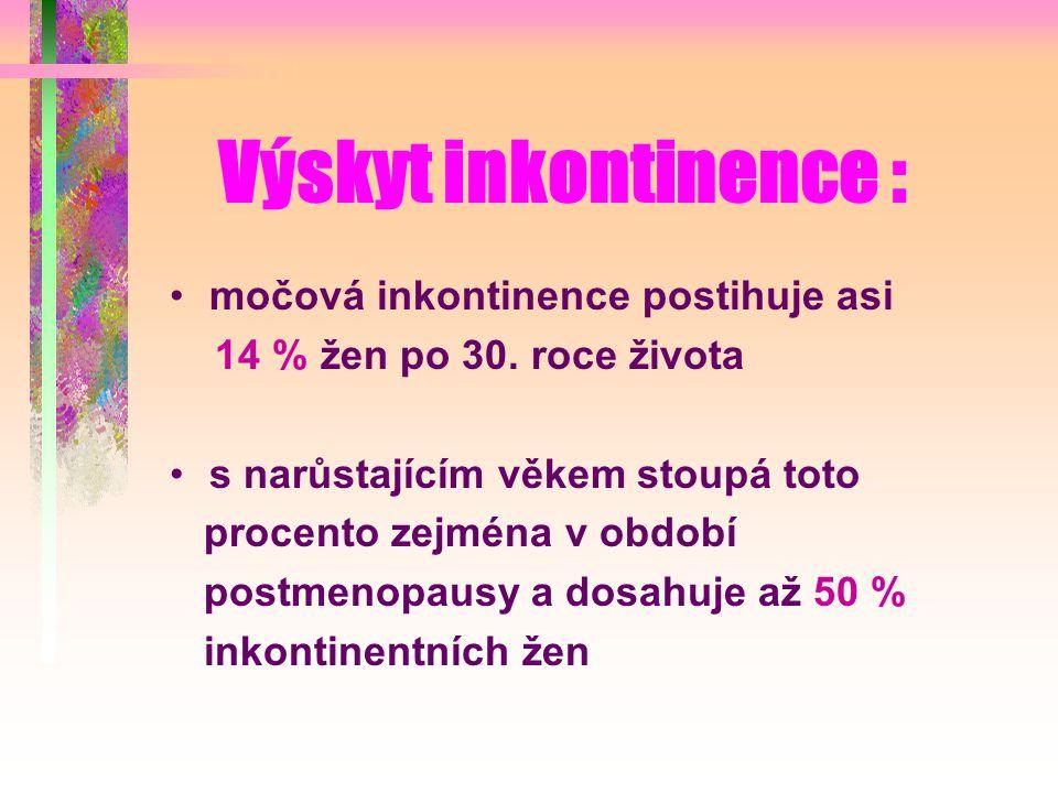 Výskyt inkontinence : močová inkontinence postihuje asi