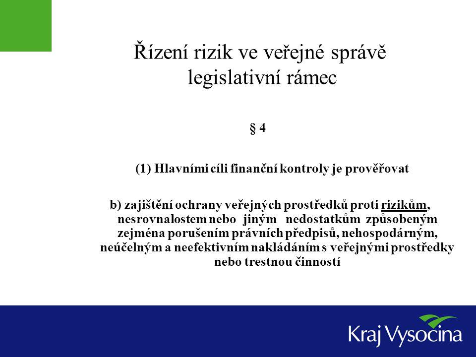 Řízení rizik ve veřejné správě legislativní rámec