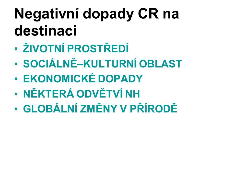Negativní dopady CR na destinaci