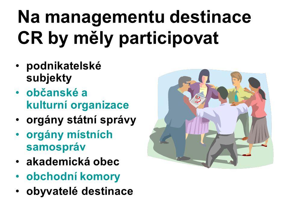 Na managementu destinace CR by měly participovat