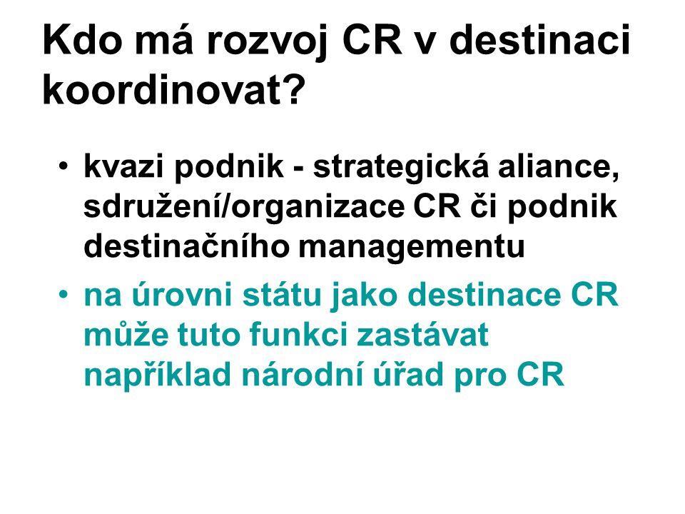 Kdo má rozvoj CR v destinaci koordinovat