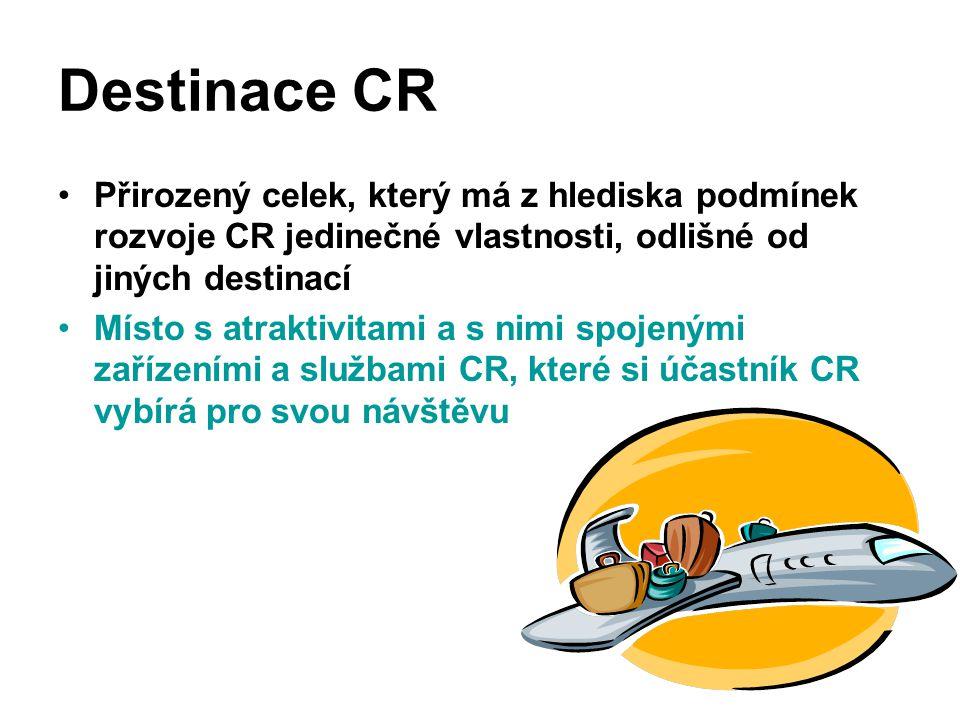 Destinace CR Přirozený celek, který má z hlediska podmínek rozvoje CR jedinečné vlastnosti, odlišné od jiných destinací.
