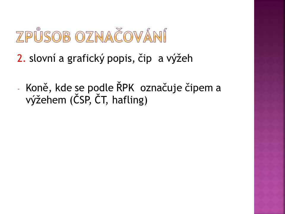 Způsob označování 2. slovní a grafický popis, čip a výžeh