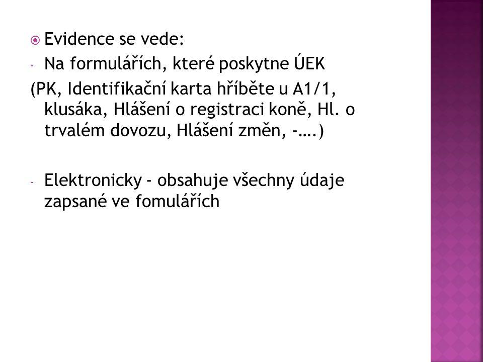 Evidence se vede: Na formulářích, které poskytne ÚEK.