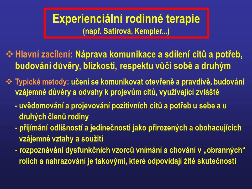 Experienciální rodinné terapie (např. Satirová, Kempler...)