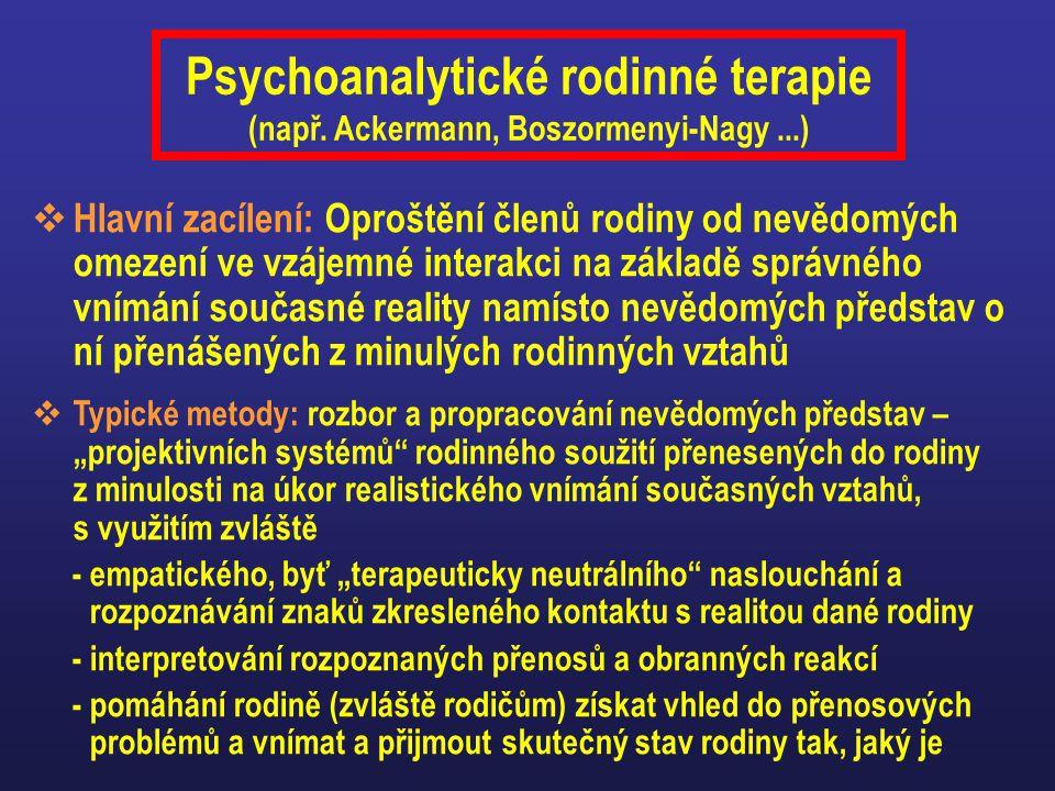 Psychoanalytické rodinné terapie (např. Ackermann, Boszormenyi-Nagy ...)