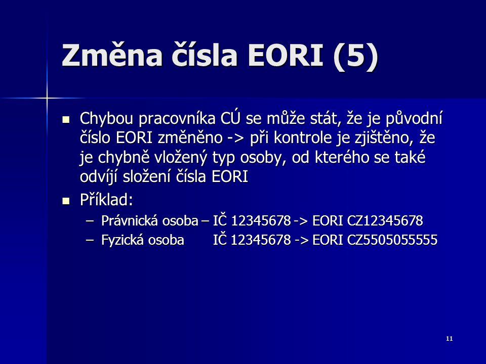 Změna čísla EORI (5)