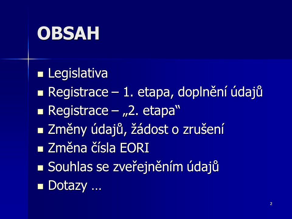 OBSAH Legislativa Registrace – 1. etapa, doplnění údajů