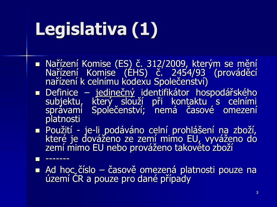 Legislativa (1) Nařízení Komise (ES) č. 312/2009, kterým se mění Nařízení Komise (EHS) č. 2454/93 (prováděcí nařízení k celnímu kodexu Společenství)
