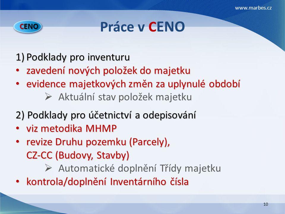 Práce v CENO Podklady pro inventuru zavedení nových položek do majetku
