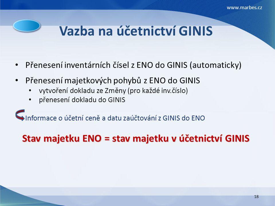 Vazba na účetnictví GINIS