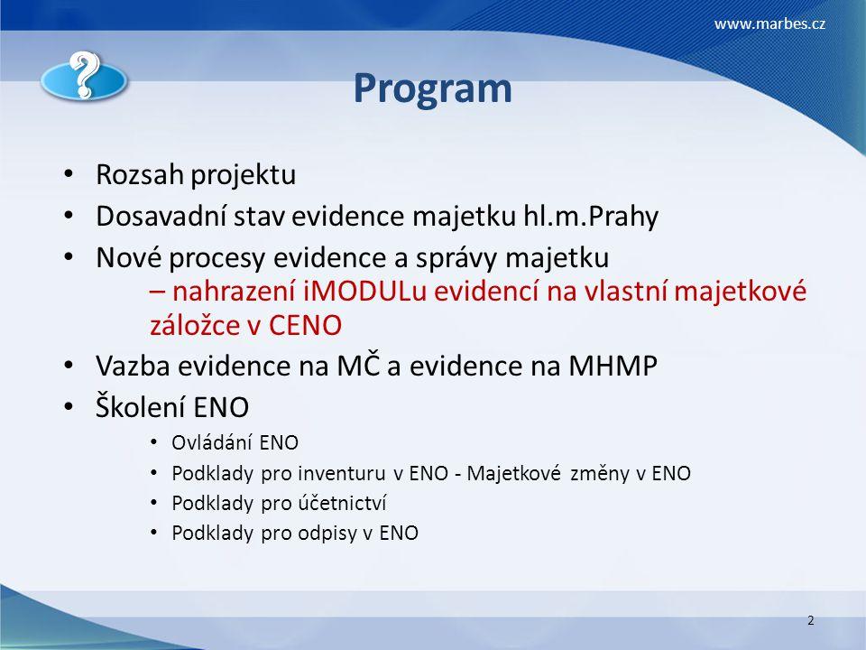 Program Rozsah projektu Dosavadní stav evidence majetku hl.m.Prahy