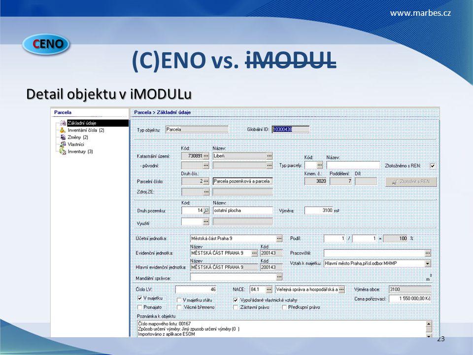 CENO (C)ENO vs. iMODUL Detail objektu v iMODULu