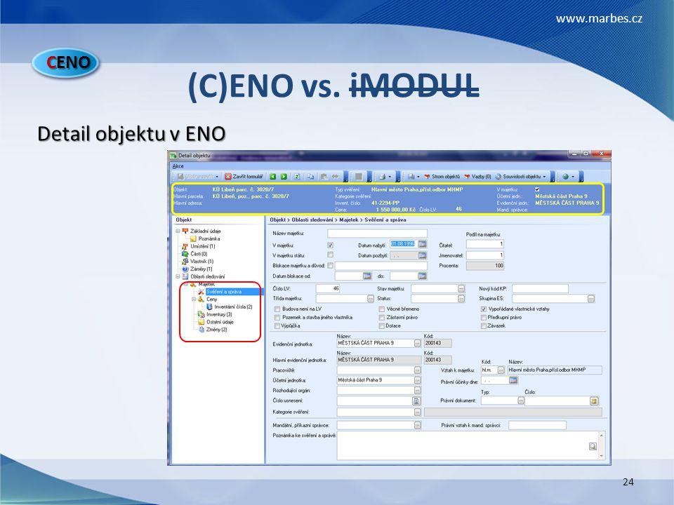CENO (C)ENO vs. iMODUL Detail objektu v ENO