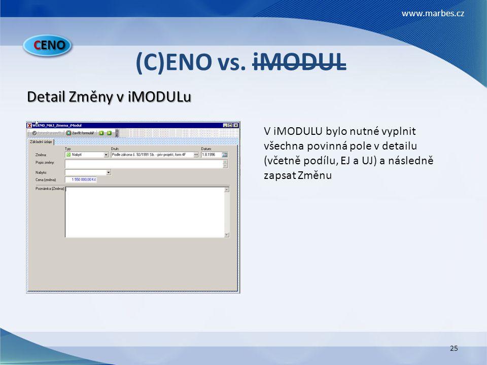 (C)ENO vs. iMODUL Detail Změny v iMODULu CENO