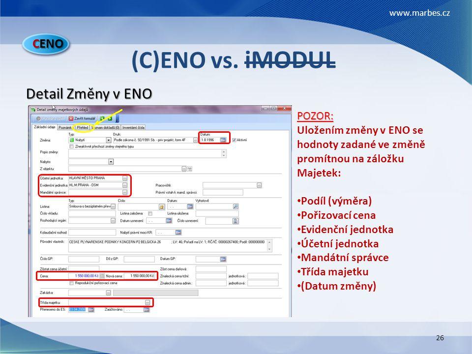 (C)ENO vs. iMODUL Detail Změny v ENO CENO POZOR: