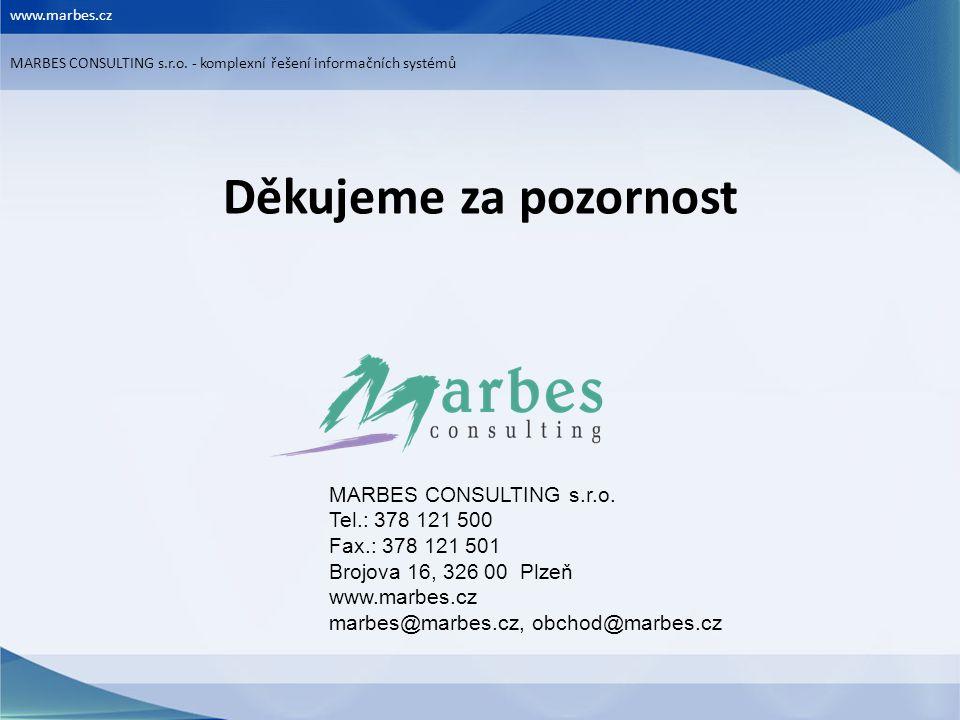 Děkujeme za pozornost MARBES CONSULTING s.r.o. Tel.: 378 121 500