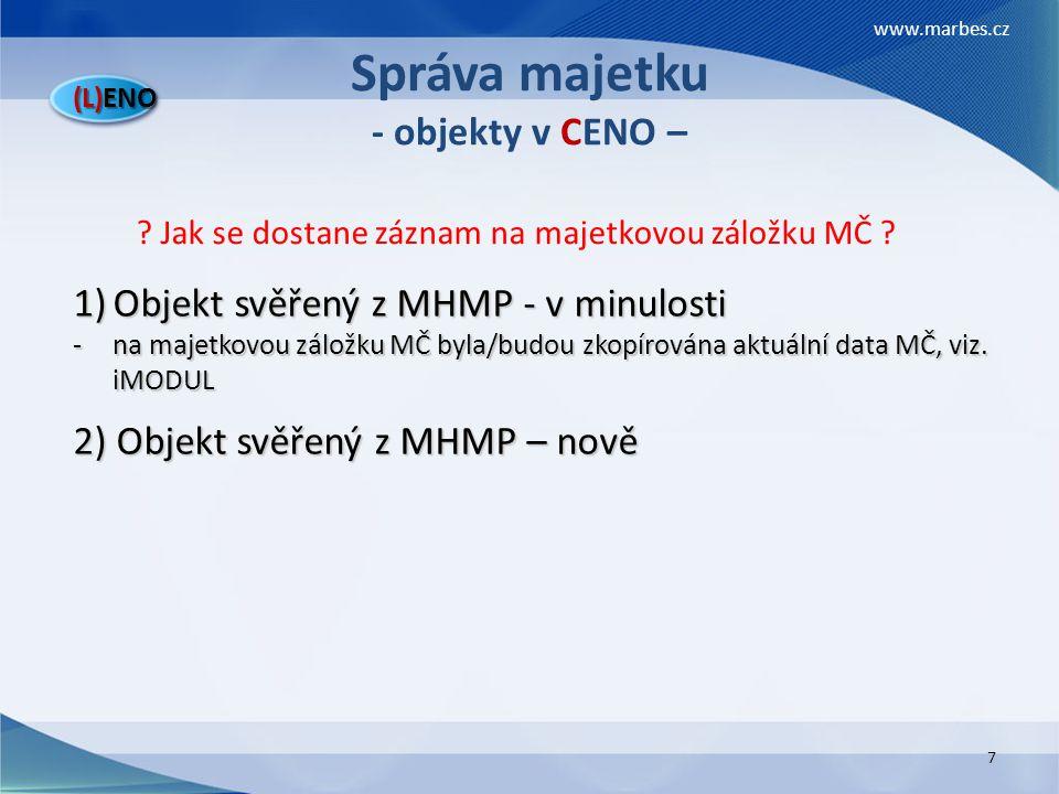 Správa majetku - objekty v CENO –