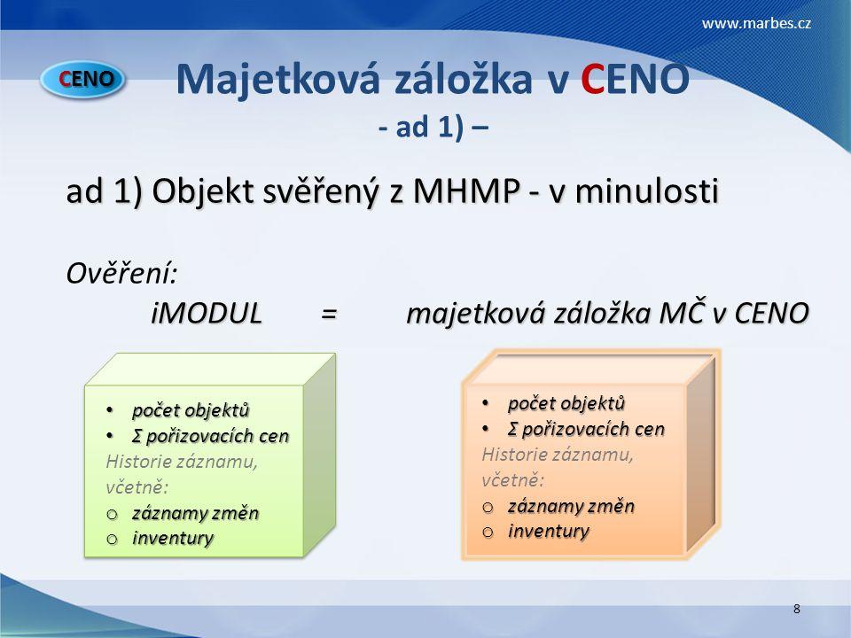 Majetková záložka v CENO - ad 1) –