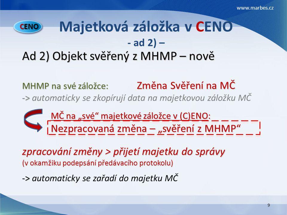 Majetková záložka v CENO - ad 2) –