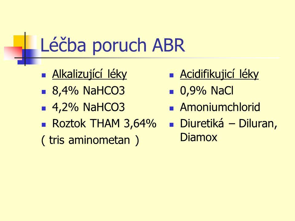 Léčba poruch ABR Alkalizující léky 8,4% NaHCO3 4,2% NaHCO3