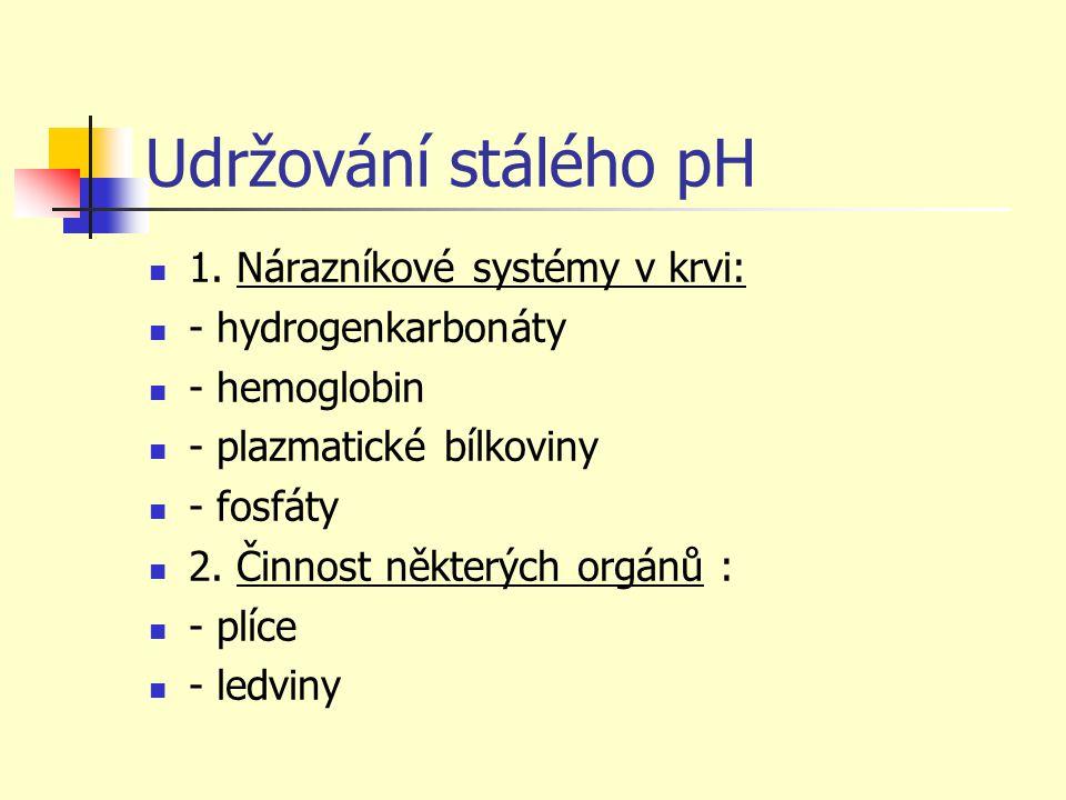 Udržování stálého pH 1. Nárazníkové systémy v krvi: